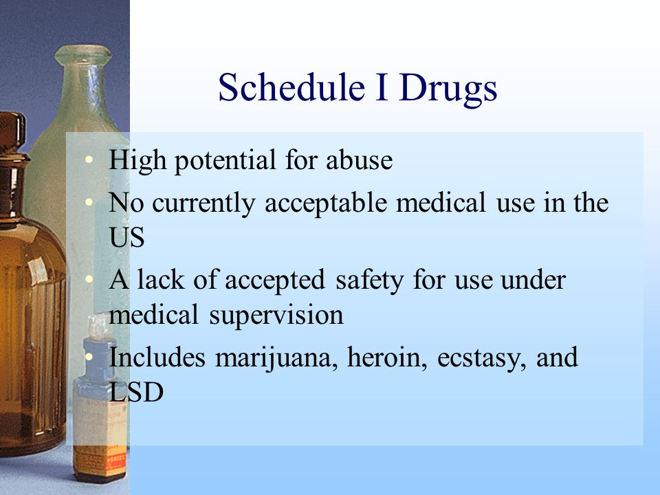 Schedule I Drugs High potential for abuse