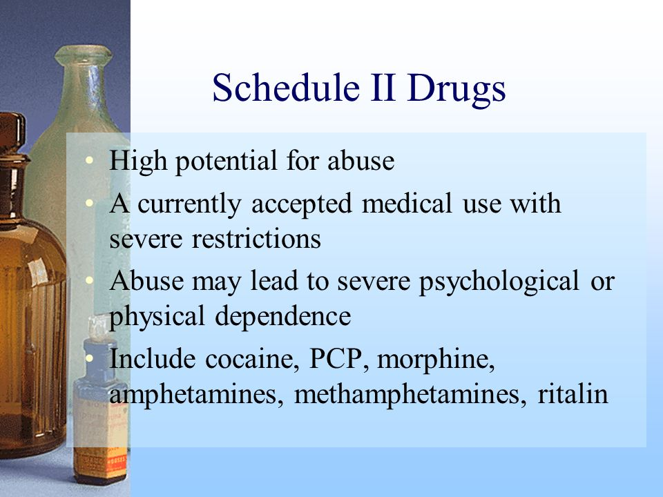 Schedule II Drugs High potential for abuse