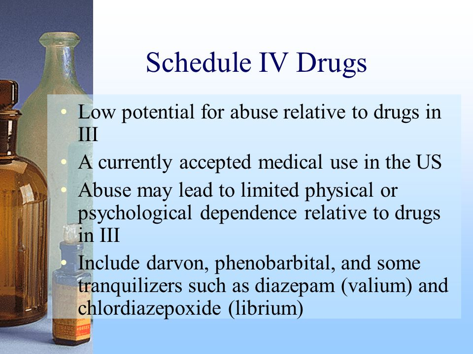 Schedule IV Drugs Low potential for abuse relative to drugs in III