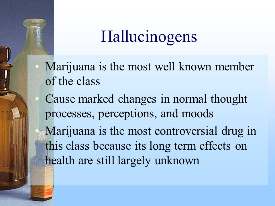 Hallucinogens Marijuana is the most well known member of the class