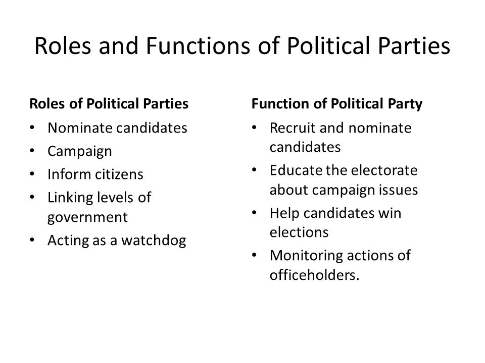functions of political parties essay In contrast to most of modern american political history, partisan control of our   this essay series argues that the ideologically sorted parties that contest.