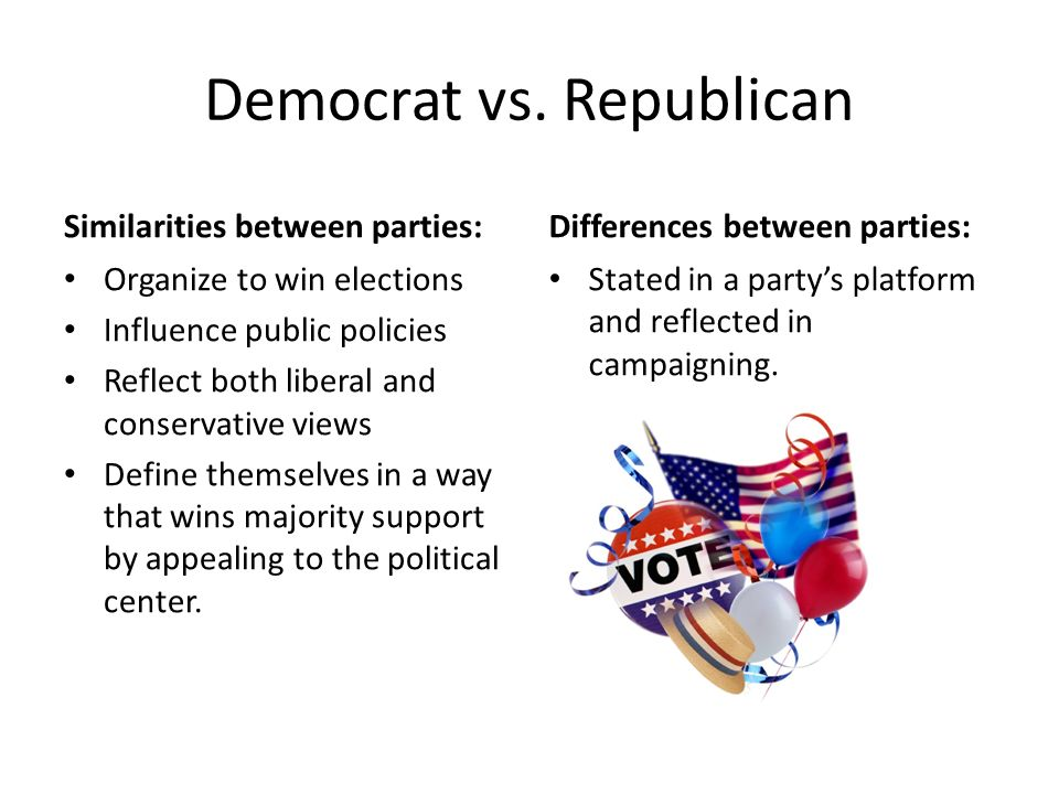 similarities between the republican and democratic parties Differences between the two party platforms  stop the abuses of corporate and labor soft money contributions to political parties  a republican congress.