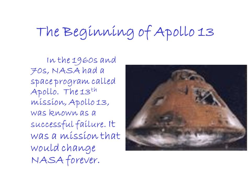 The Beginning of Apollo 13