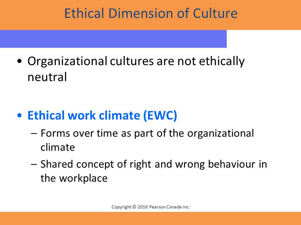 the effects of ethical climates on Organizational ethical climate refers to the moral atmosphere of the work environment and the level of ethics practiced within a company.