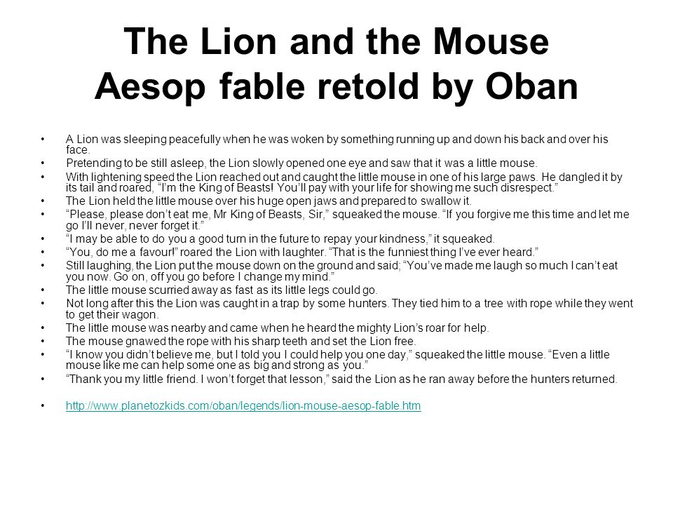 The Lion and the Mouse Aesop fable retold by Oban
