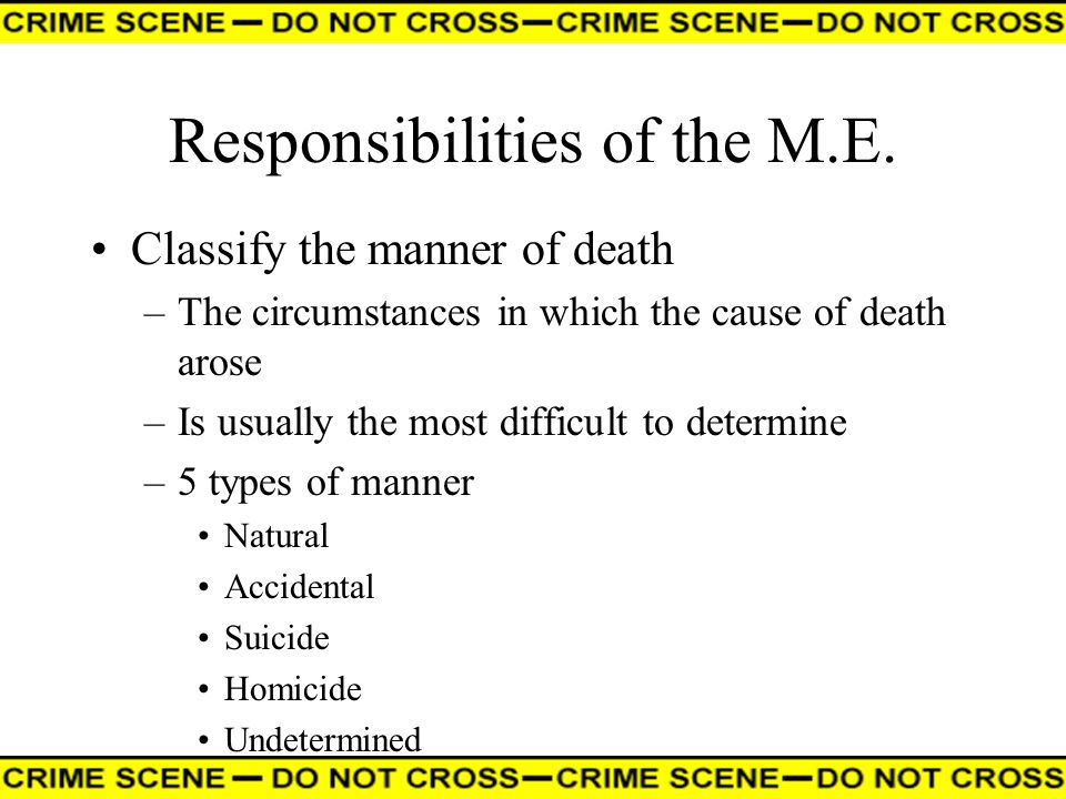 Responsibilities of the M.E.