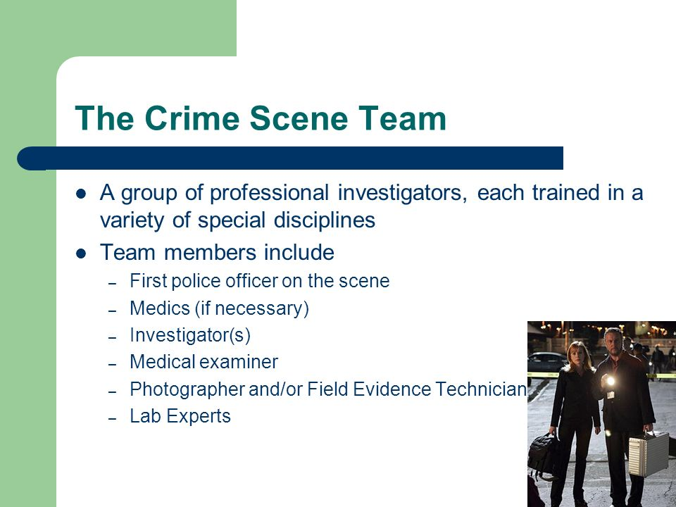 The Crime Scene Team A group of professional investigators, each trained in a variety of special disciplines.