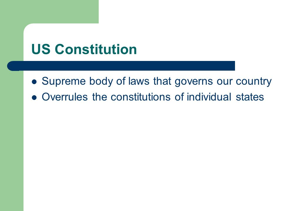 US Constitution Supreme body of laws that governs our country