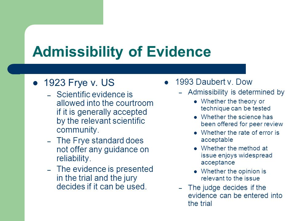 Admissibility of Evidence