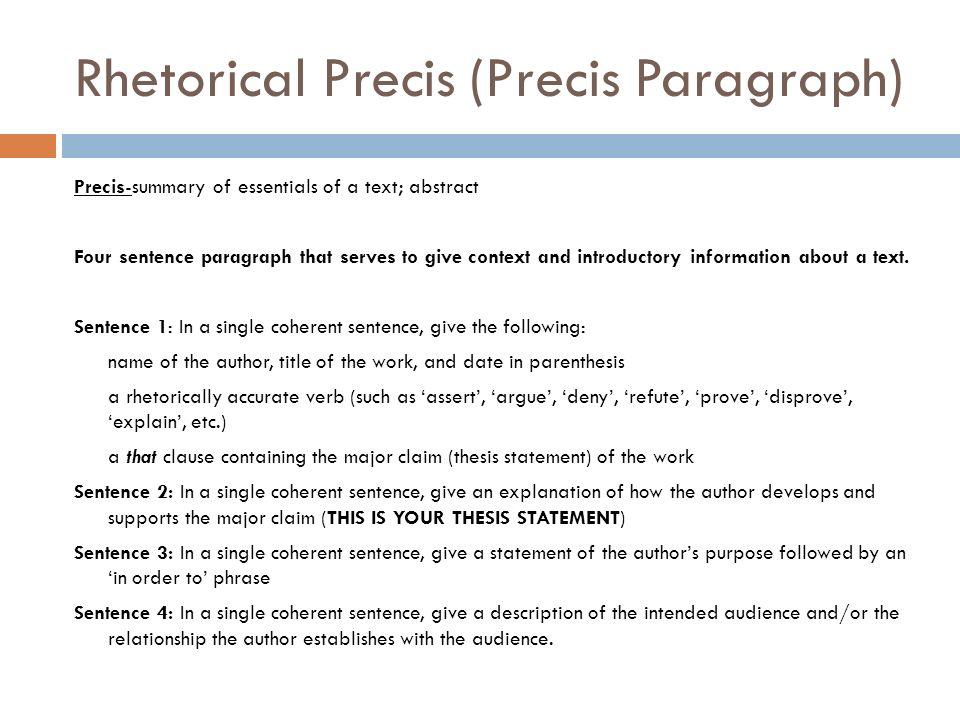 Rhetorical Precis Template Definition Image