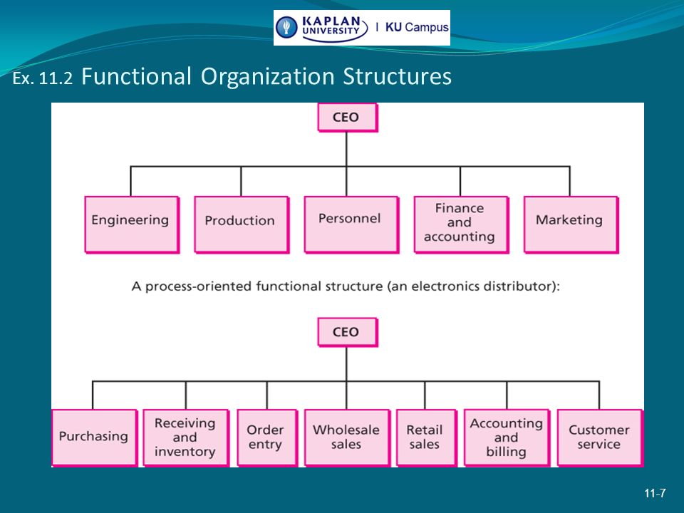 the five organizational structures are functional Start studying chapter 8: organization structure -matrix structures combine the functional and allows a worker to complete a full-time job in less than five.