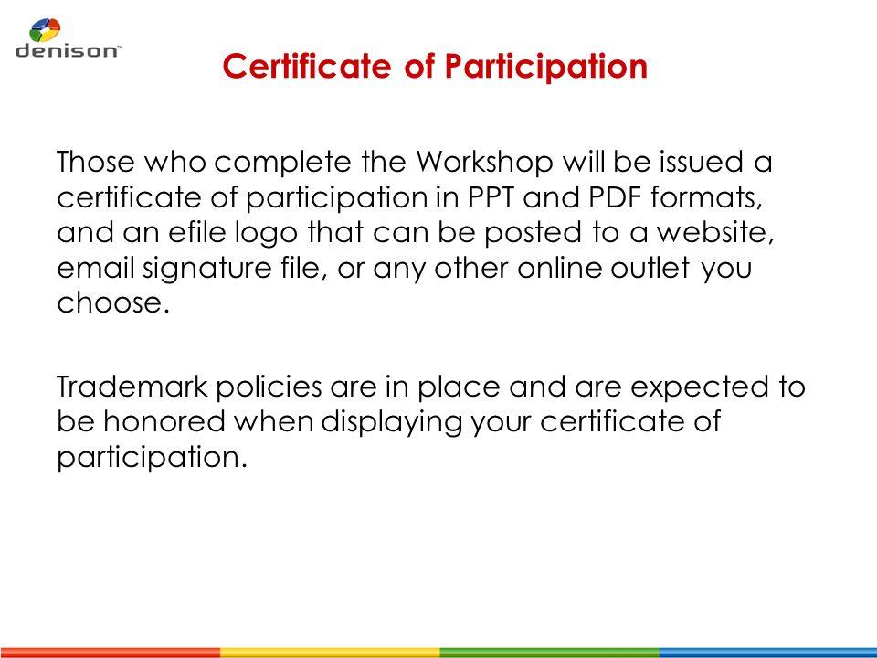 workshop certificate of participation