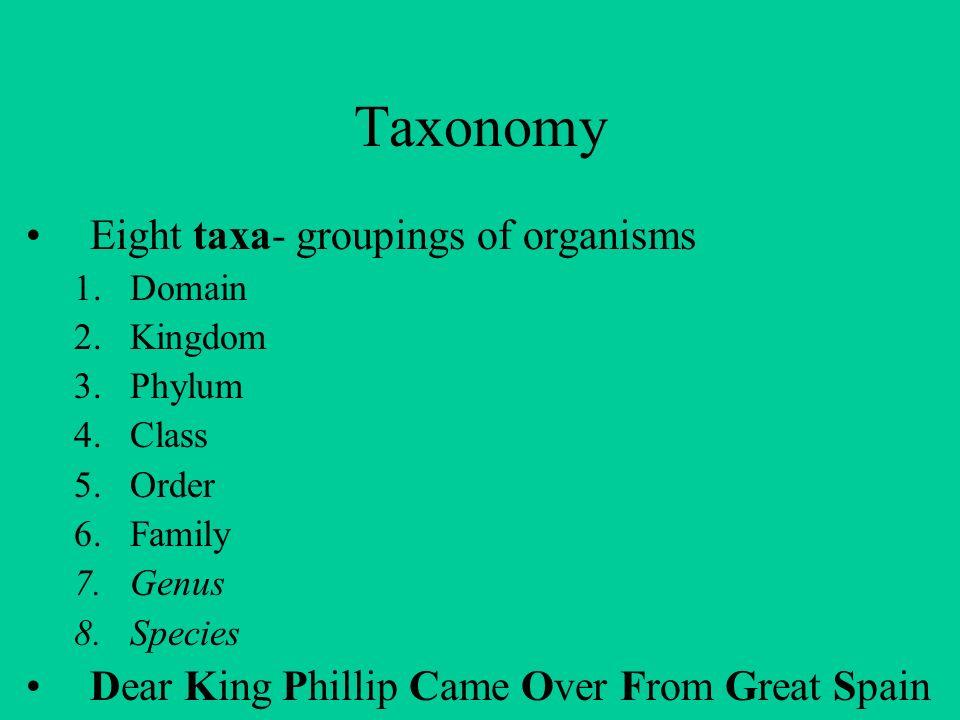 Taxonomy Eight taxa- groupings of organisms