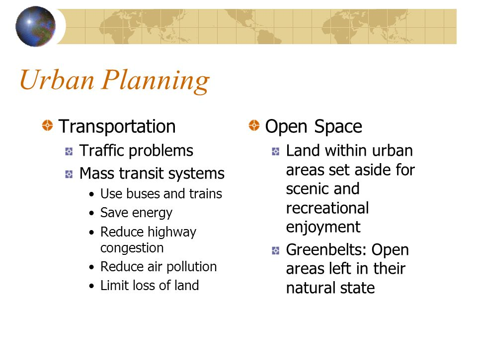 Urban Planning Transportation Open Space Traffic problems