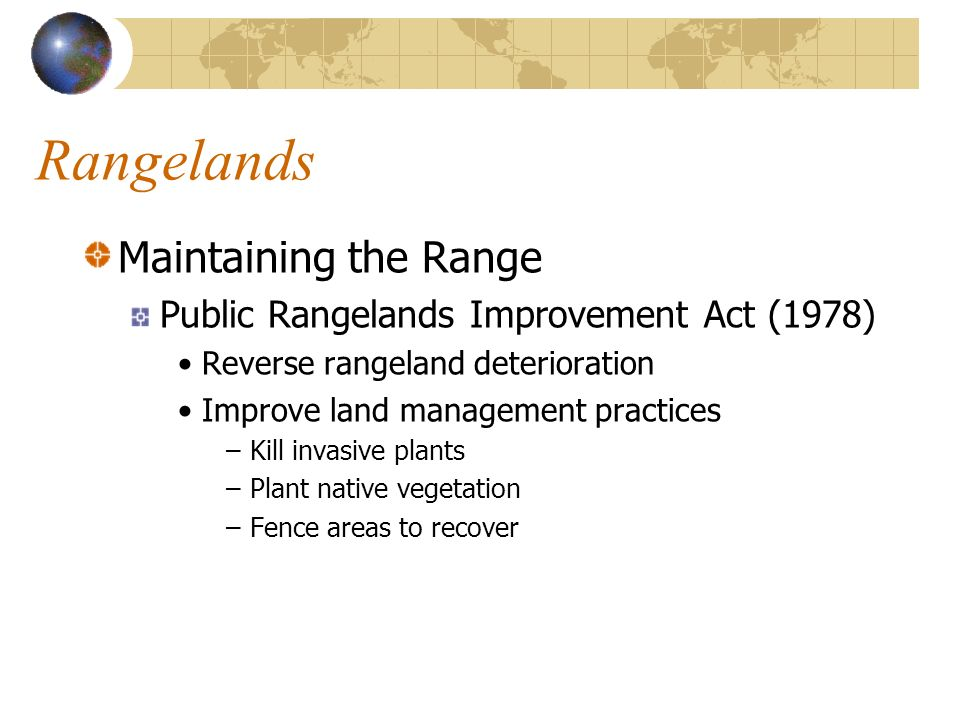 Rangelands Maintaining the Range