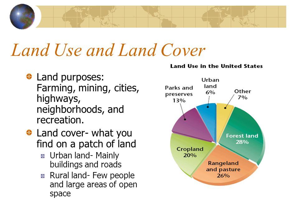 Land Use and Land Cover Land purposes: Farming, mining, cities, highways, neighborhoods, and recreation.