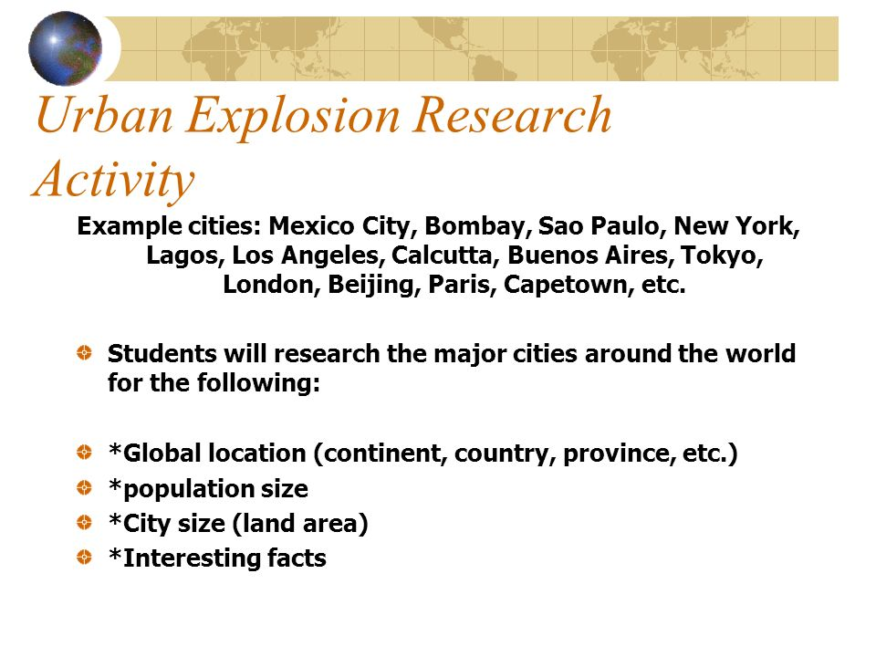 Urban Explosion Research Activity