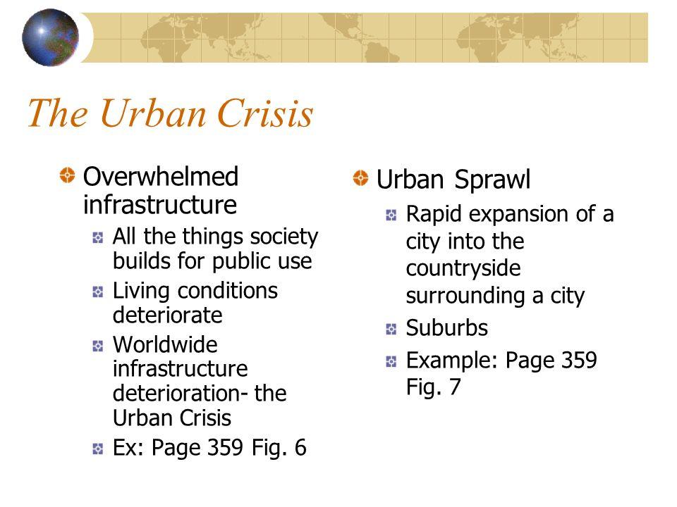 The Urban Crisis Overwhelmed infrastructure Urban Sprawl