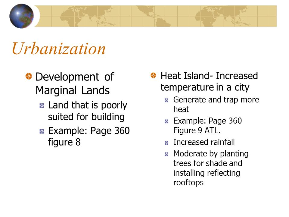 Urbanization Development of Marginal Lands