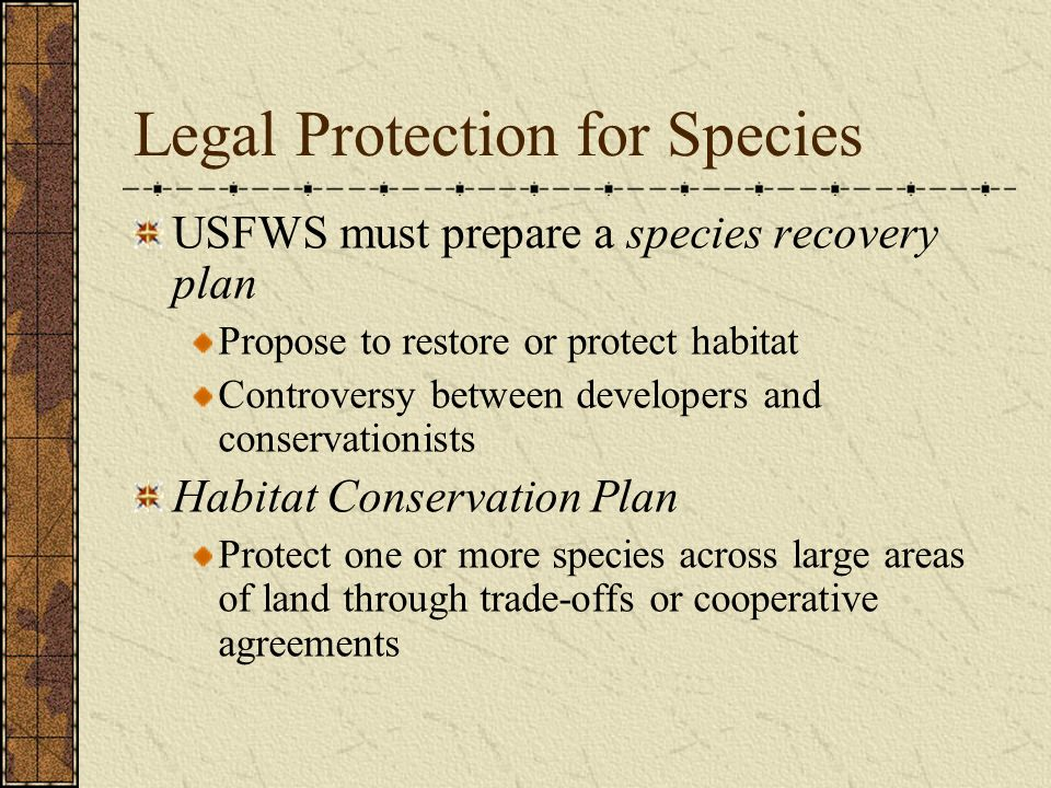 Legal Protection for Species
