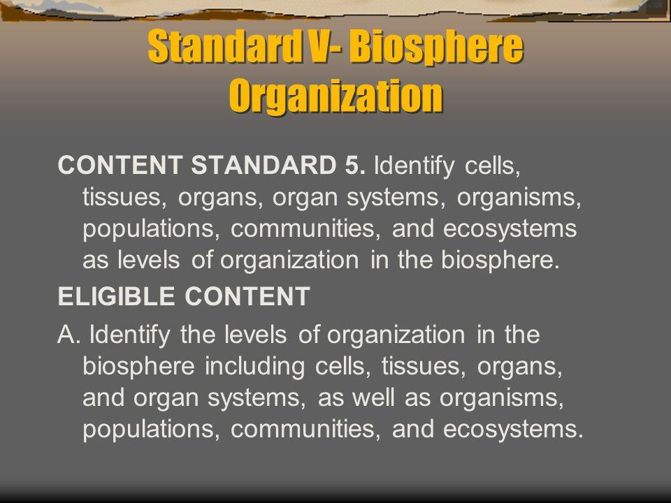 Standard V- Biosphere Organization