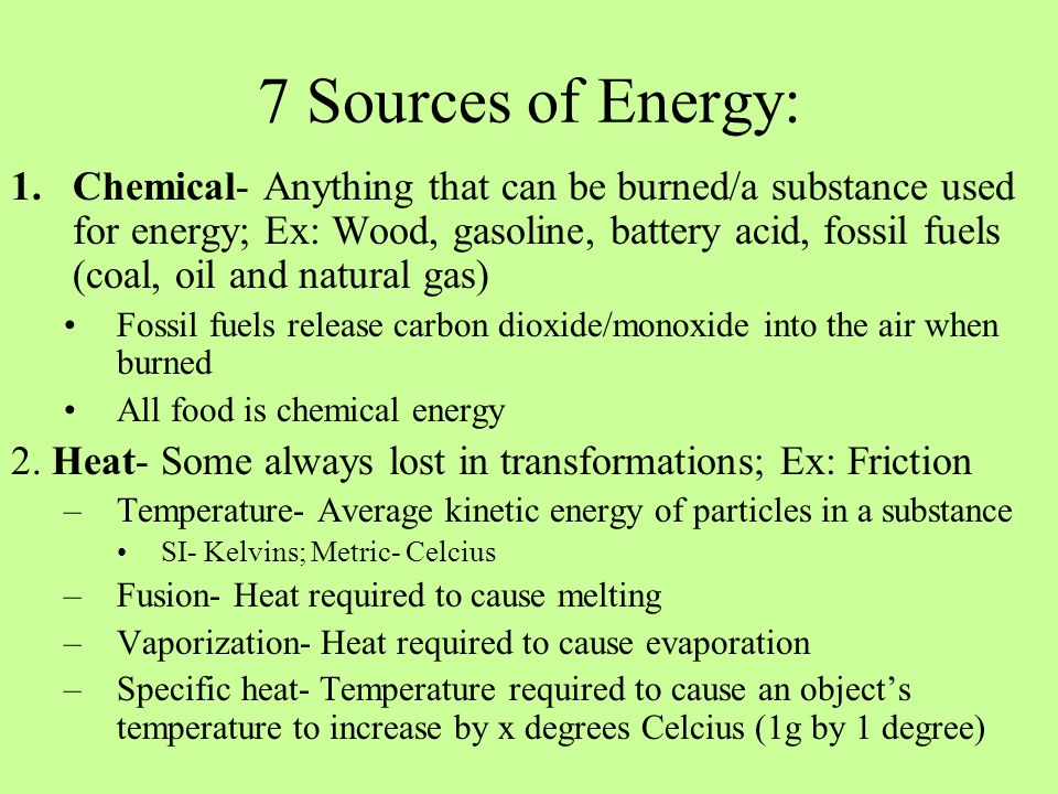 7 Sources of Energy: