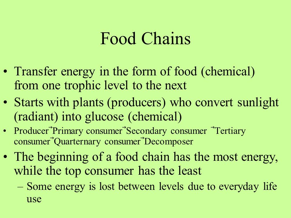 Food Chains Transfer energy in the form of food (chemical) from one trophic level to the next.