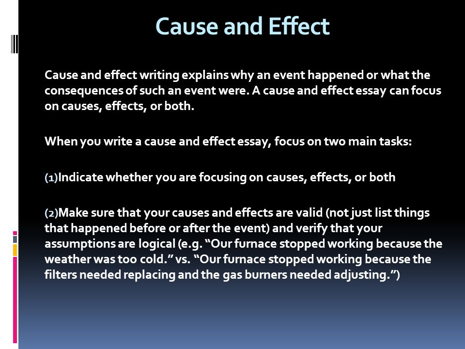 cause and effect writing Here is a short guide to writing cause and effect essays and para graphs prepared especially for english language learners.