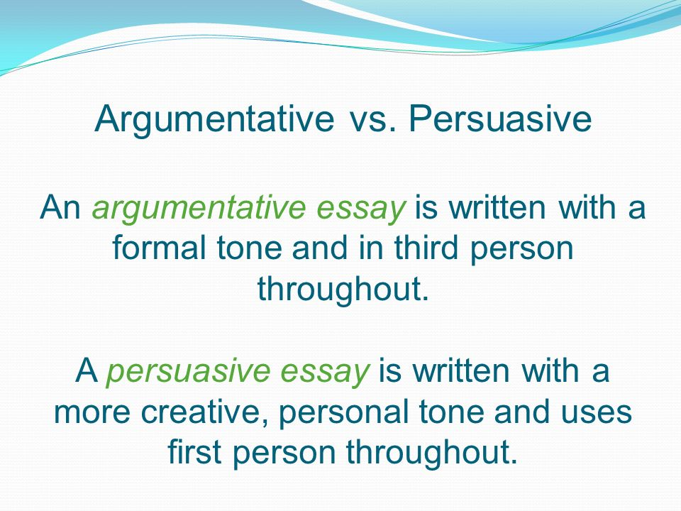 third person persuasive essay Although the whole point of an argumentative essay is to sway the reader's   writing from a third-person perspective is the easiest way to keep bias out of your .