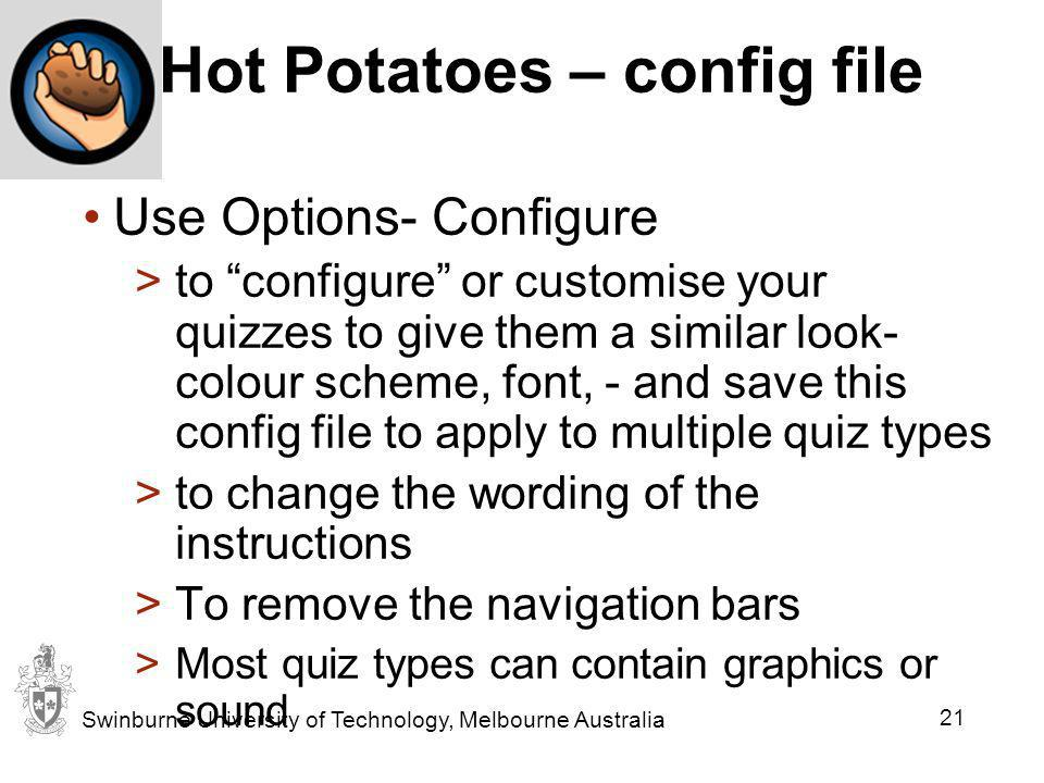 Hot Potatoes – config file