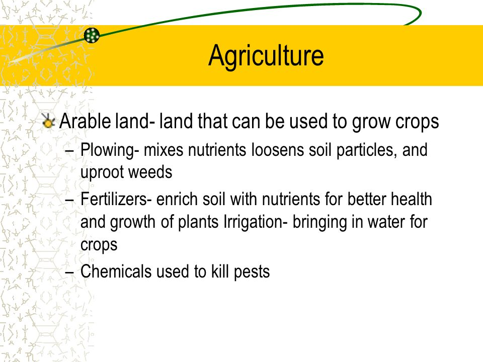 Agriculture Arable land- land that can be used to grow crops