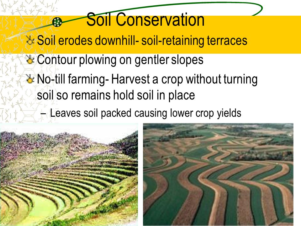 Soil Conservation Soil erodes downhill- soil-retaining terraces