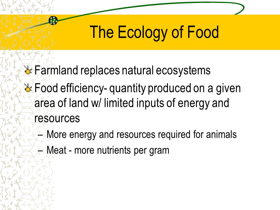 The Ecology of Food Farmland replaces natural ecosystems