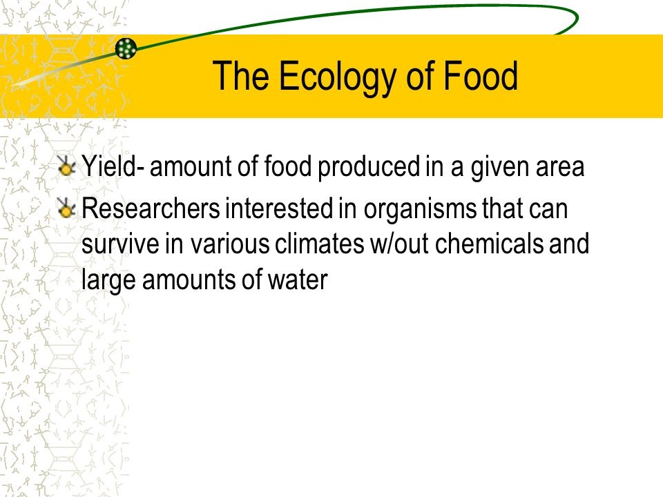 The Ecology of Food Yield- amount of food produced in a given area