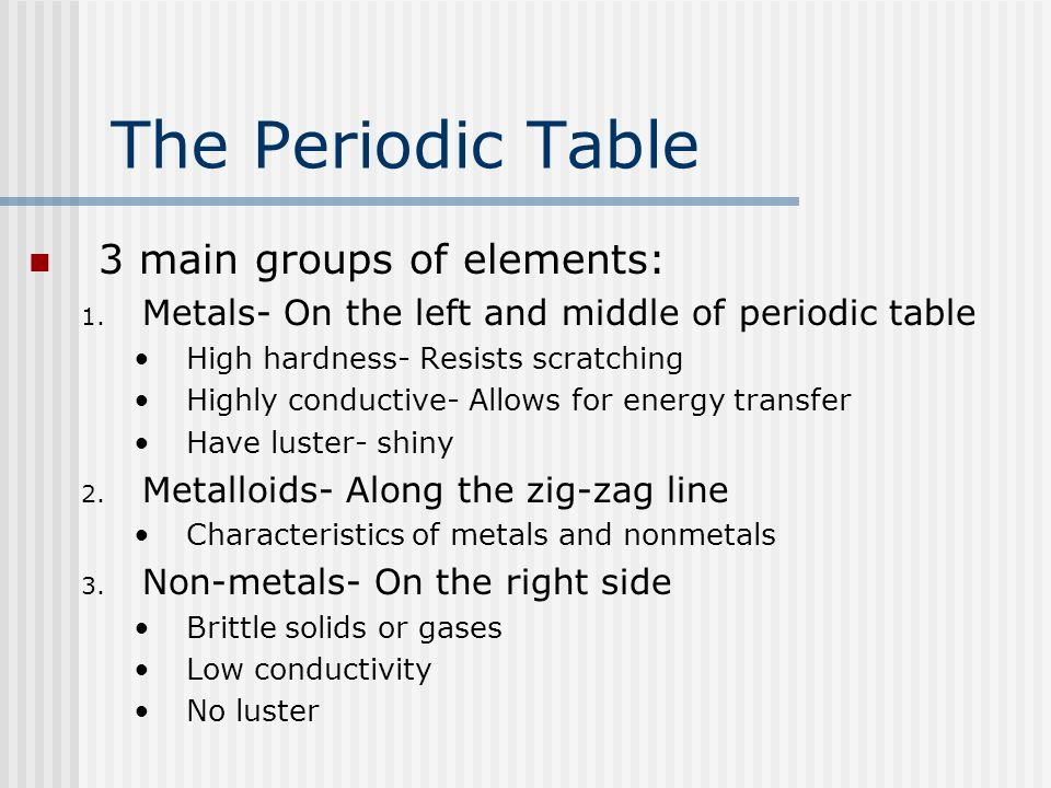 The Periodic Table 3 main groups of elements: