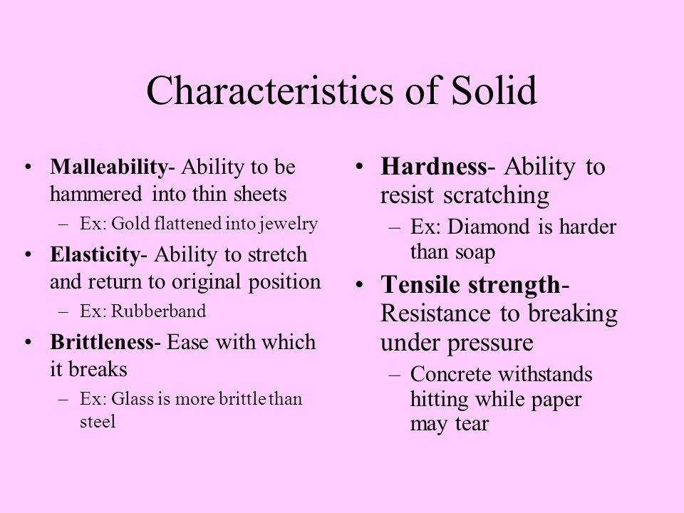 Characteristics of Solid