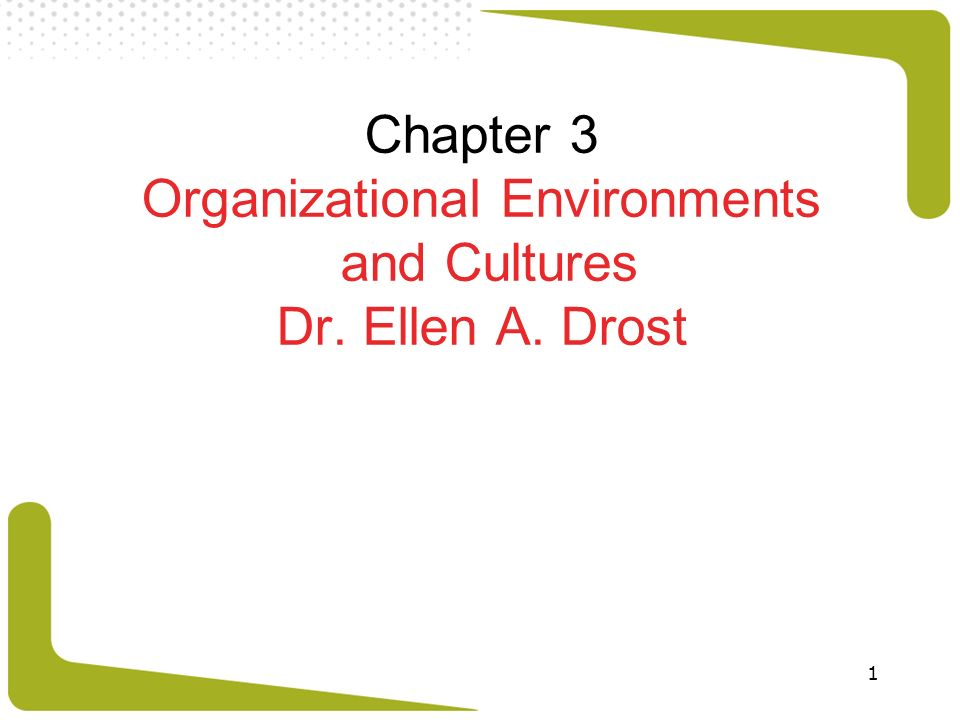 Chapter 3 Organizational Environments and Cultures Dr. Ellen A. Drost