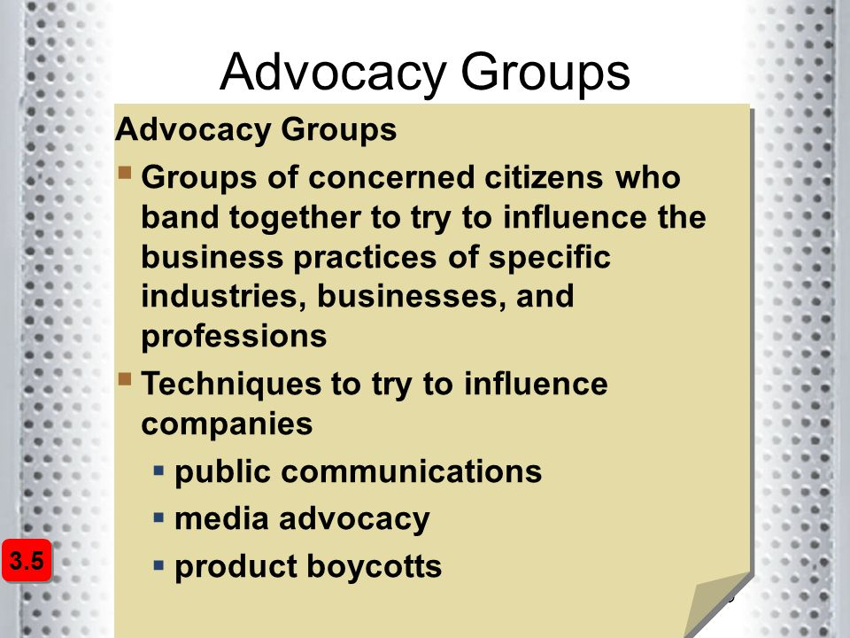 Advocacy Groups Advocacy Groups