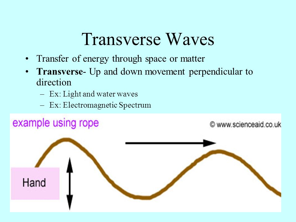 Transverse Waves Transfer of energy through space or matter