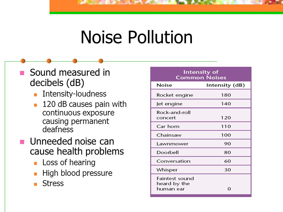 Noise Pollution Sound measured in decibels (dB)