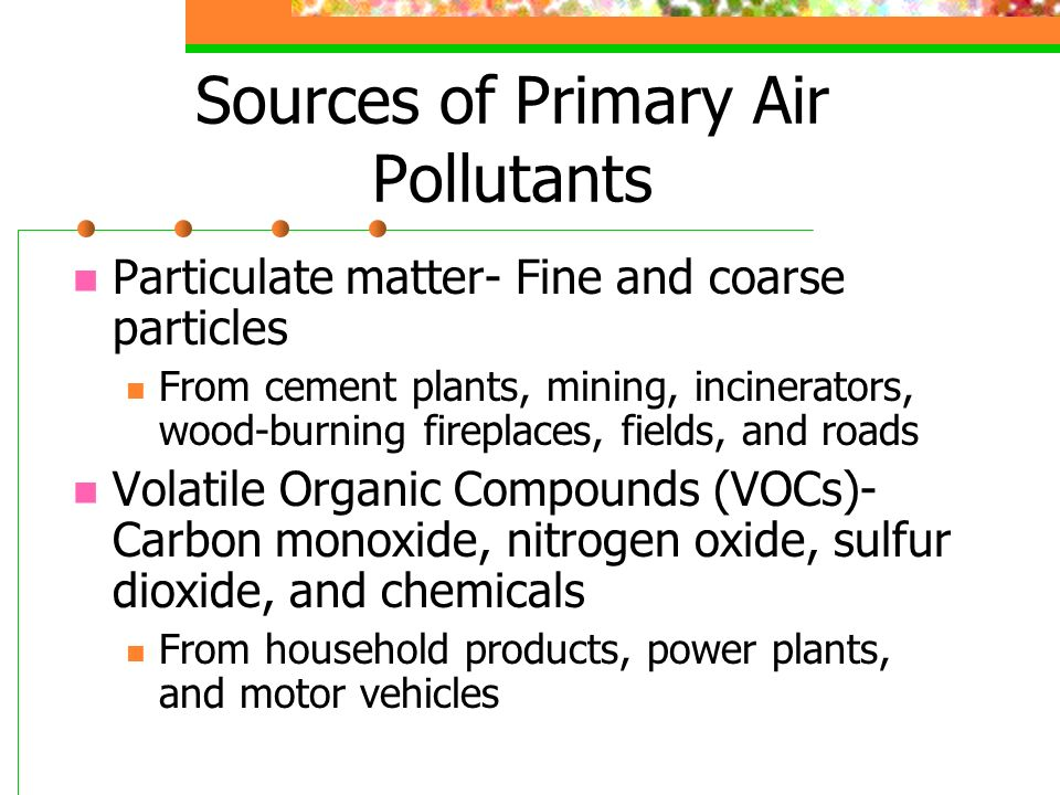 Sources of Primary Air Pollutants