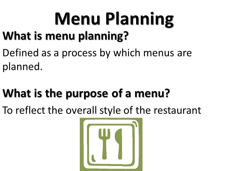 Fabuleux Menu Planning What is menu planning? What is the purpose of a menu  SJ87