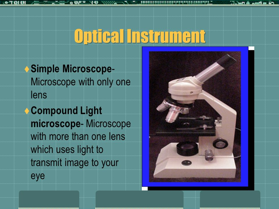 Optical Instrument Simple Microscope- Microscope with only one lens