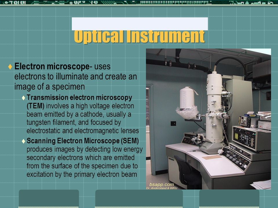 Optical Instrument Electron microscope- uses electrons to illuminate and create an image of a specimen.