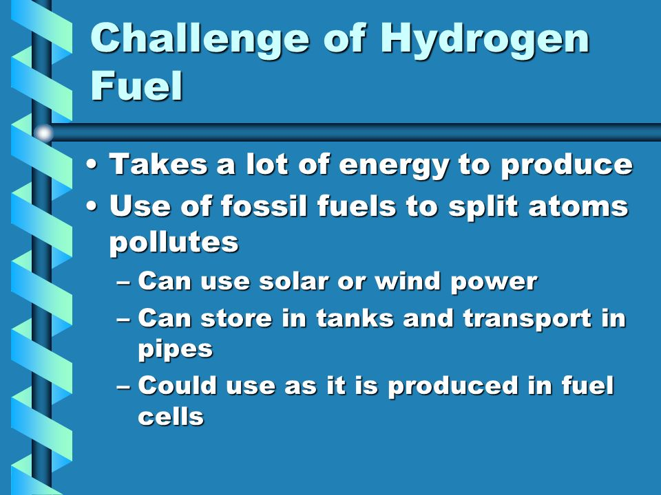 Challenge of Hydrogen Fuel