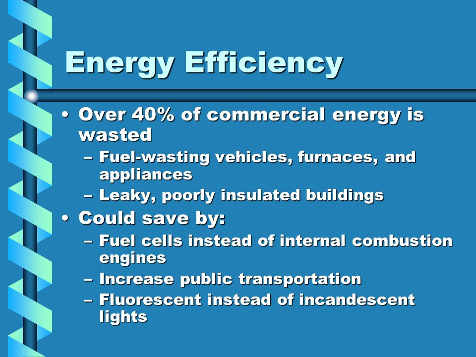 Energy Efficiency Over 40% of commercial energy is wasted
