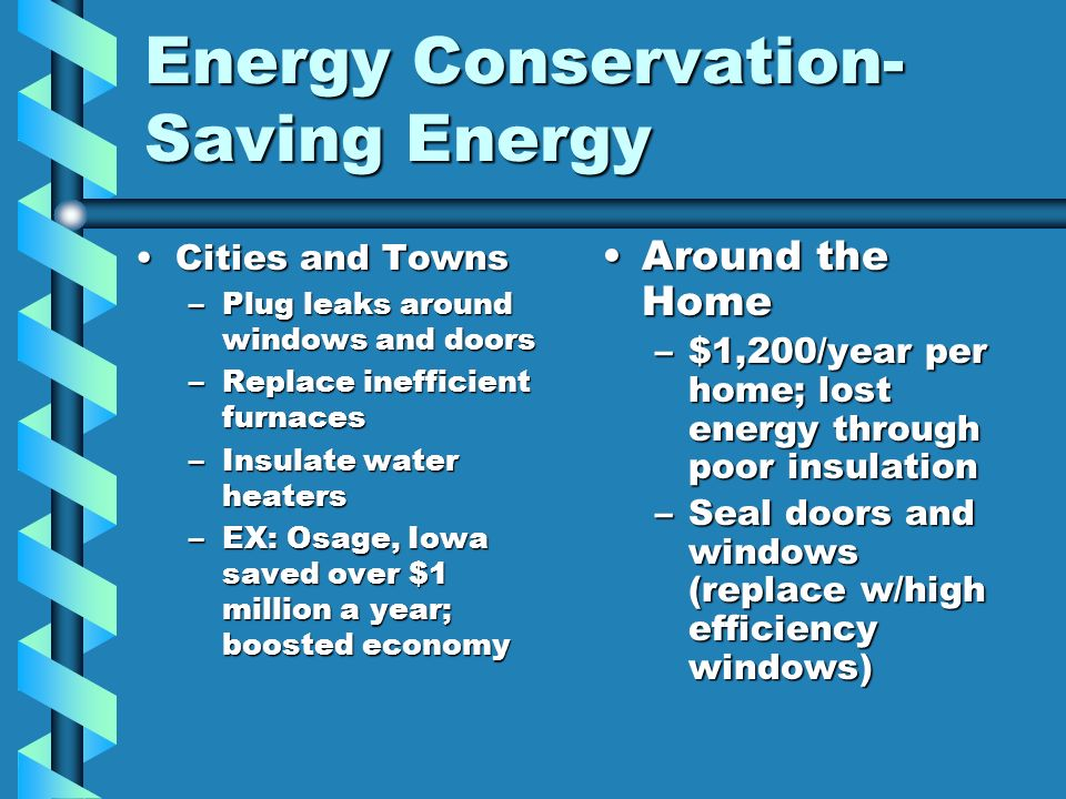 Energy Conservation-Saving Energy