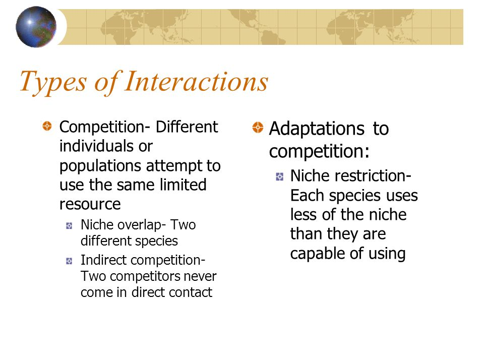 Types of Interactions Adaptations to competition: