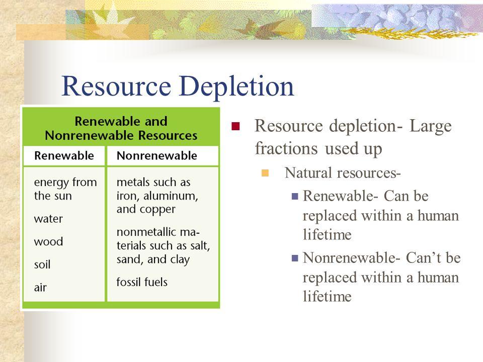 Resource Depletion Resource depletion- Large fractions used up