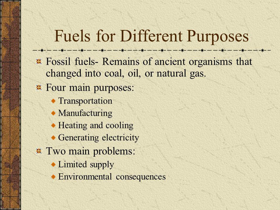 Fuels for Different Purposes